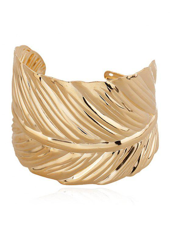 lady Alloy Leaf Cuff Bracelet - GOLDEN
