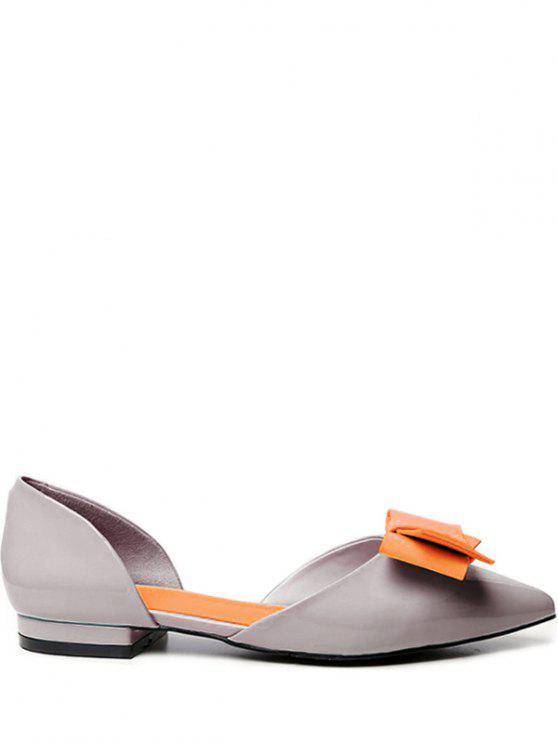 Zweiteilige flache Schuhe mit Farbblock und Schleifedetail - Grau 37