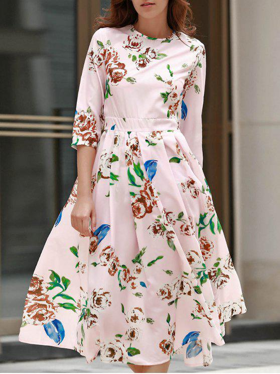 3/4 Floral Sleeve Print Midi Dress - ROSE PÂLE L