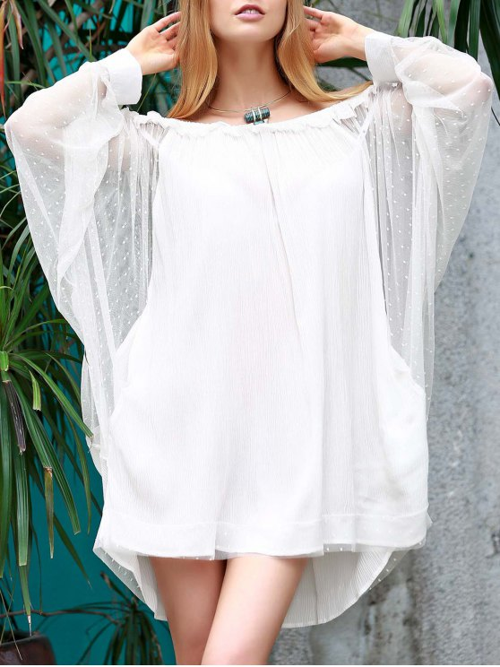 fancy Off The Shoulder Loose See-Through Bat-Wing Sleeve Dress - WHITE M