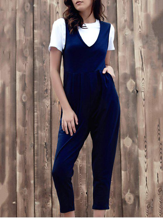 women's Fitting Solid Color Plunging Neck Sleeveless Jumpsuit - PURPLISH BLUE L