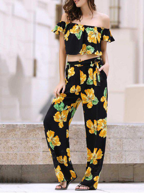 outfit Cold Shoulder Ruffle Crop Top and Palazzo Pants Twinset - BLACK S