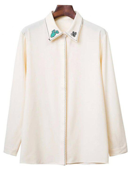 sale Embroidered Turn Down Collar Long Sleeve Shirt - BEIGE M