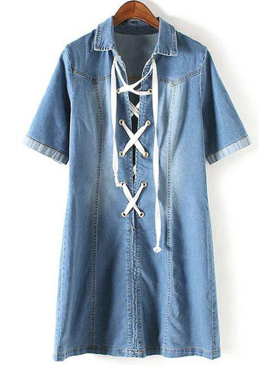 ladies Denim Lace Up Turn Down Collar Short Sleeve Dress - BLUE M