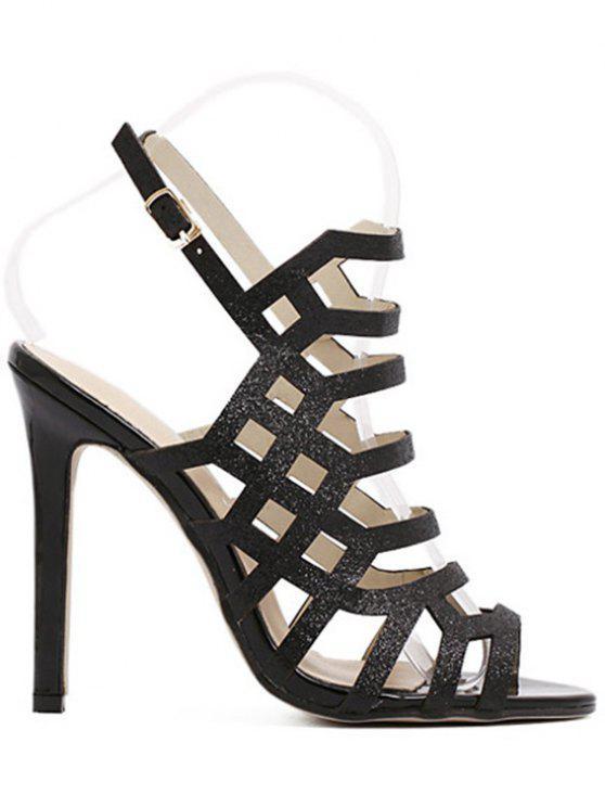 chic Peep Toe Sequined Stiletto Heel Sandals - BLACK 39
