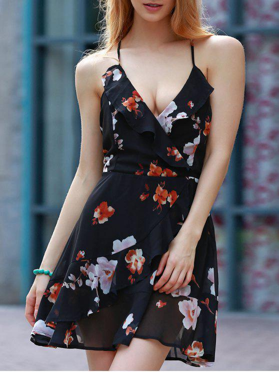 latest Cut Out Floral Print Spaghetti Straps Sleeveless Dress - BLACK L