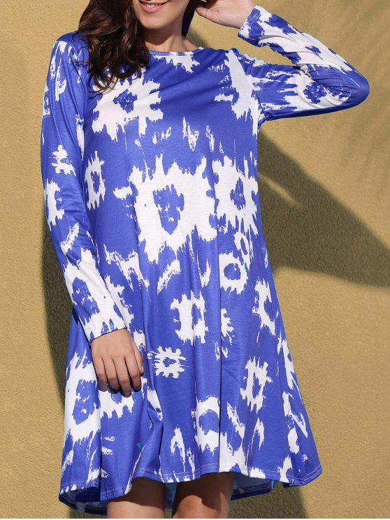 latest Printed Round Collar Long Sleeve Dress - BLUE S