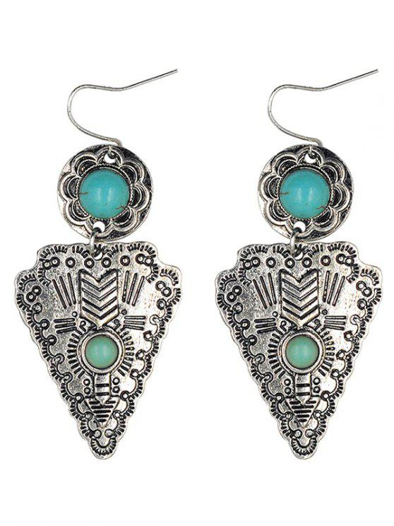 shops Faux Turquoise Triangle Pendant Earrings - SILVER