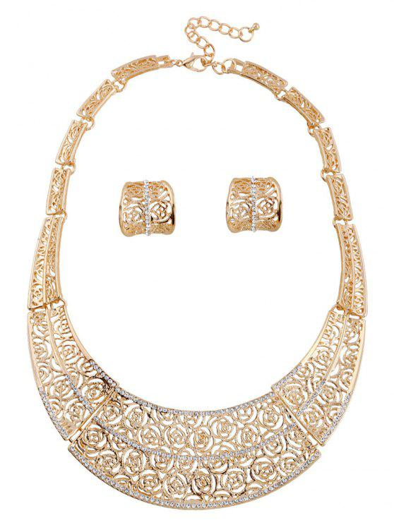 Suit Rose Hollow Necklace Earrings - GOLDEN
