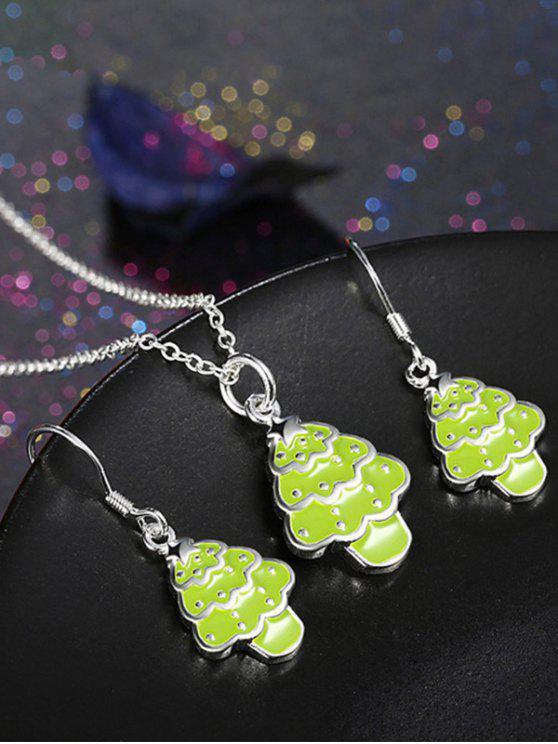 Poli Arbre de Noël Ensemble de bijoux - néon Verte