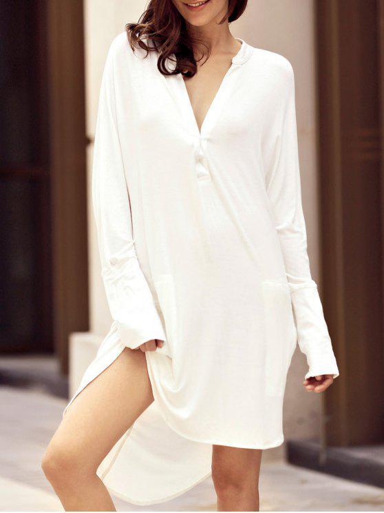فستان عالية انخفاض شيرت - أبيض M