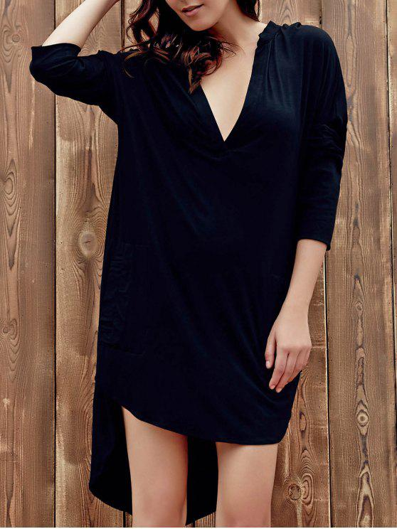 fancy High Low Shirt Dress - BLACK 2XL