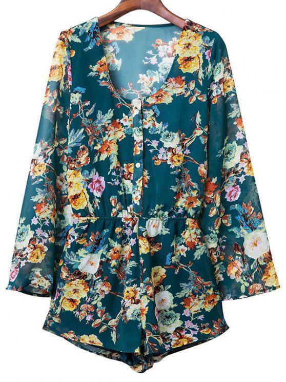outfits Flower Print V Neck Long Sleeve Chiffon Romper - PURPLISH BLUE L