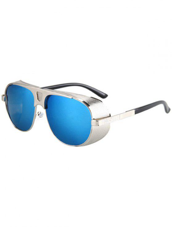 women's Hollow Out Hole Silver Metal Sunglasses - BLUE