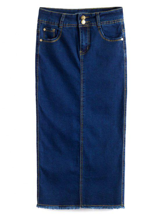 women's Fitted Packet Buttock High Waist Denim Skirt - DEEP BLUE M