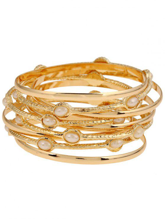 buy Multi-Layered Alloy Bracelet - GOLDEN