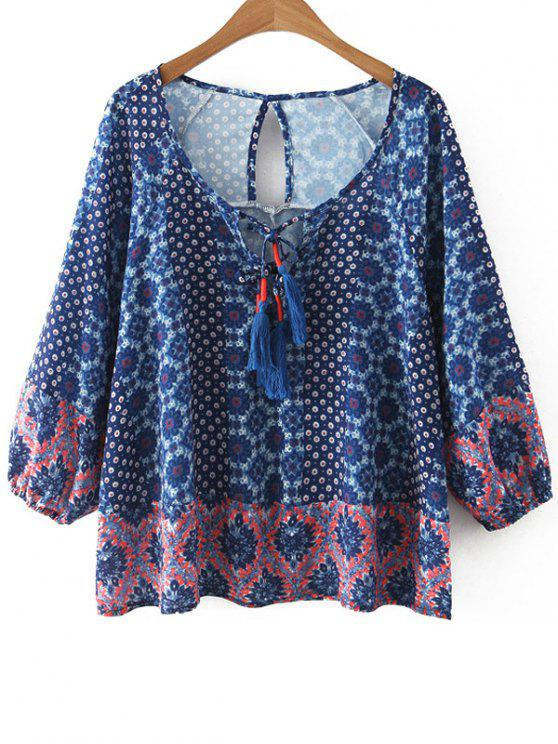 outfits Printed Scoop Neck 3/4 Sleeve Blouse - BLUE S