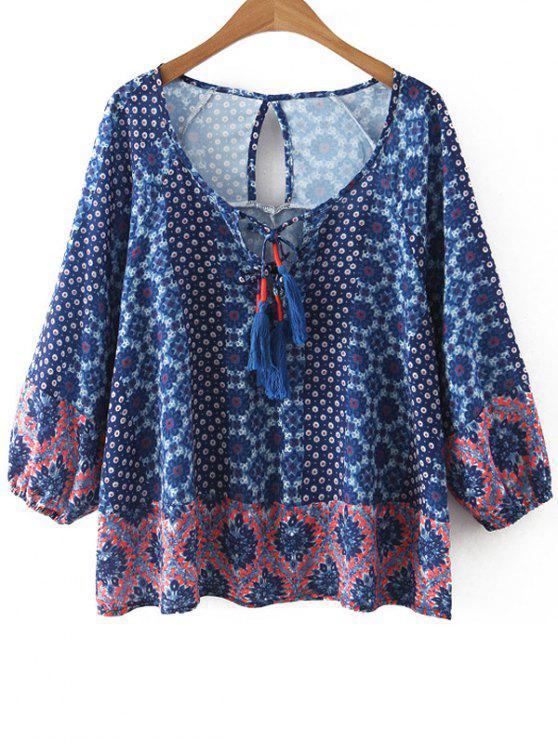 Impreso con cuello redondo blusa de la manga 3/4 - Azul S