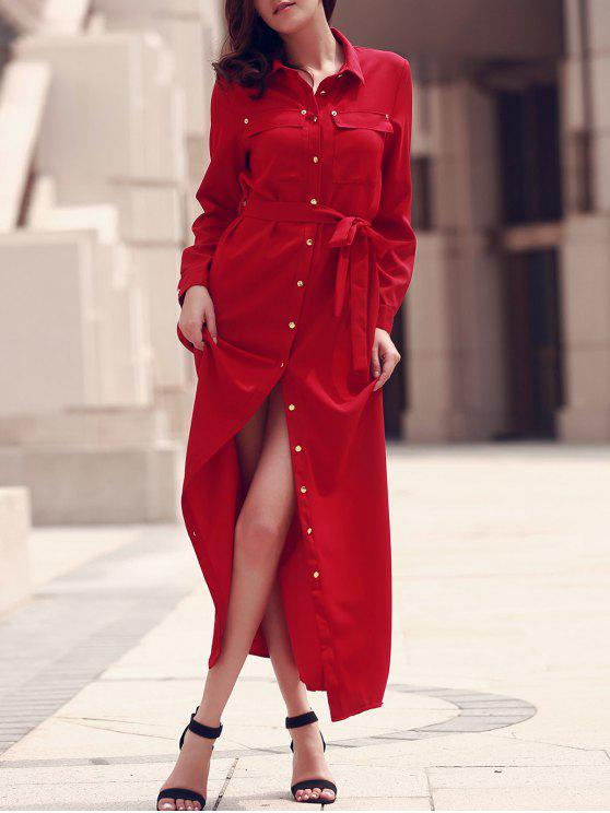 fashion Long Sleeve Button Up Maxi Dress - RED 2XL