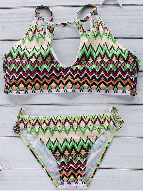 Découpez Out Halter Imprimé Ensemble bikini - Multicolore XL