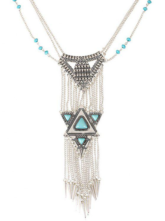 affordable Faux Turquoise Triangle Tassel Necklace - SILVER