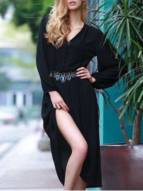 Solide Couleur Haute Slit Plongeant Neck robe à manches Lantern - Noir 2XL