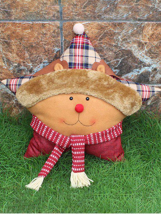ladies Merry Christmas Deer Star Pillow - YELLOW
