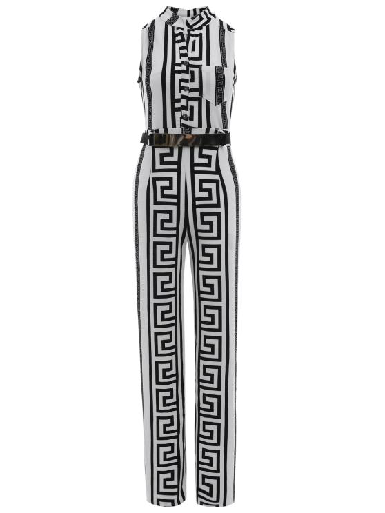 shop Printed Stand Neck Sleeveless Jumpsuit - WHITE L