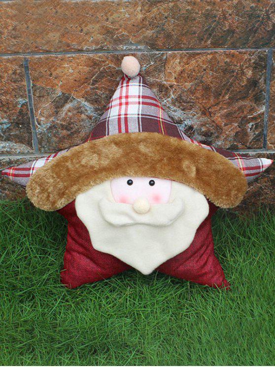 lady Santa Claus Star Pillow Merry Christmas Decoration - WHITE