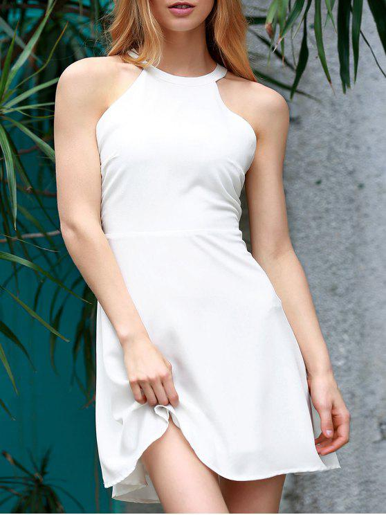 women's Backless Hollow Out Round Neck Sleeveless Dress - WHITE XL