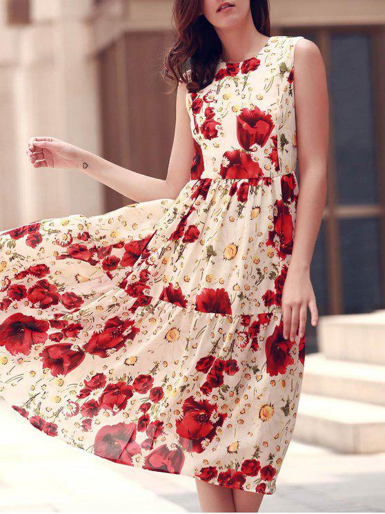 Plegado y estampado floral redondo vestido sin mangas del cuello - Rojo S