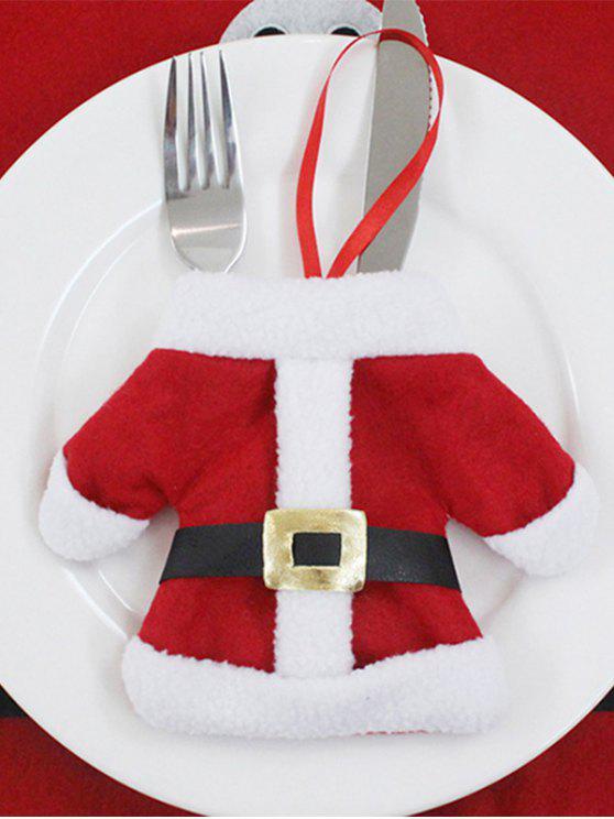 latest Christmas Santa Clothes Tableware Holder Bag - RED