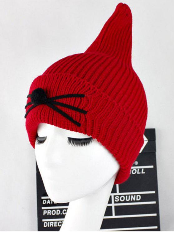 online Warm Cat Beard Shark Fin Shape Knit Hat - RED