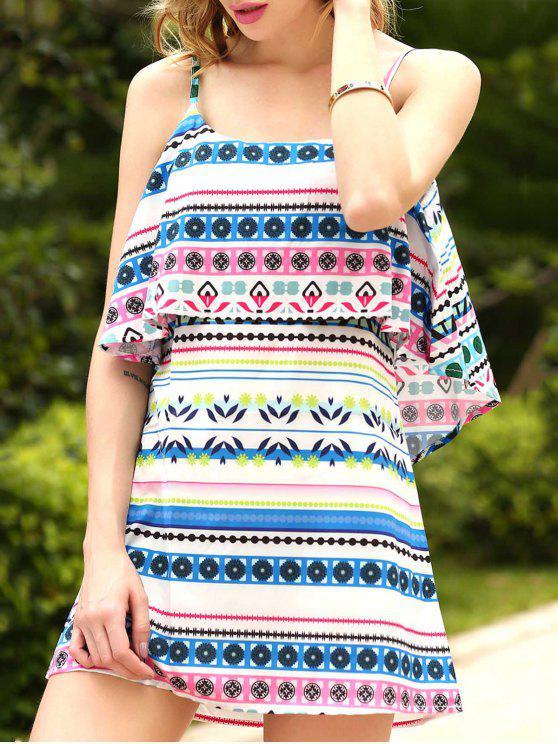 unique Ethnic Print Cami Ruffles Dress - COLORMIX S