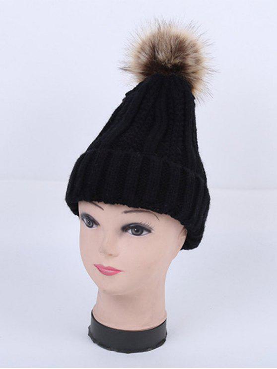 Inverno Stripy Flanging Pom Hat - Preto