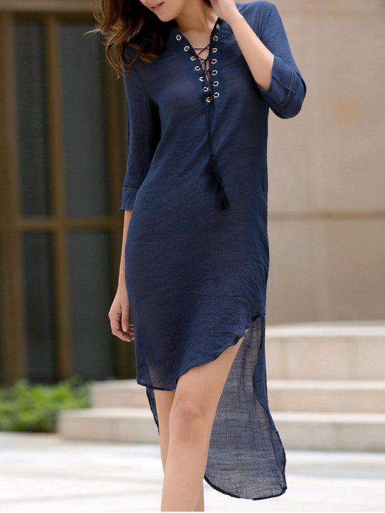 unique High Low Hem Plunging Neck Dress - DEEP BLUE XL