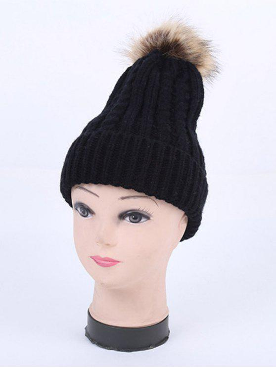 womens Winter Cable Knit Pom Hat - BLACK