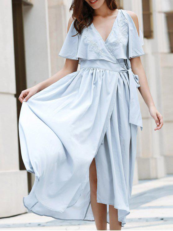 hot High Slit Flounce Ruffles Plunging Neck Sleeveless Dress - LIGHT BLUE M