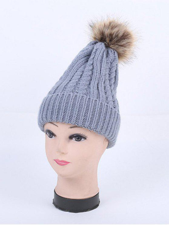 Inverno Cappello Cable Knit Pom - Grigio