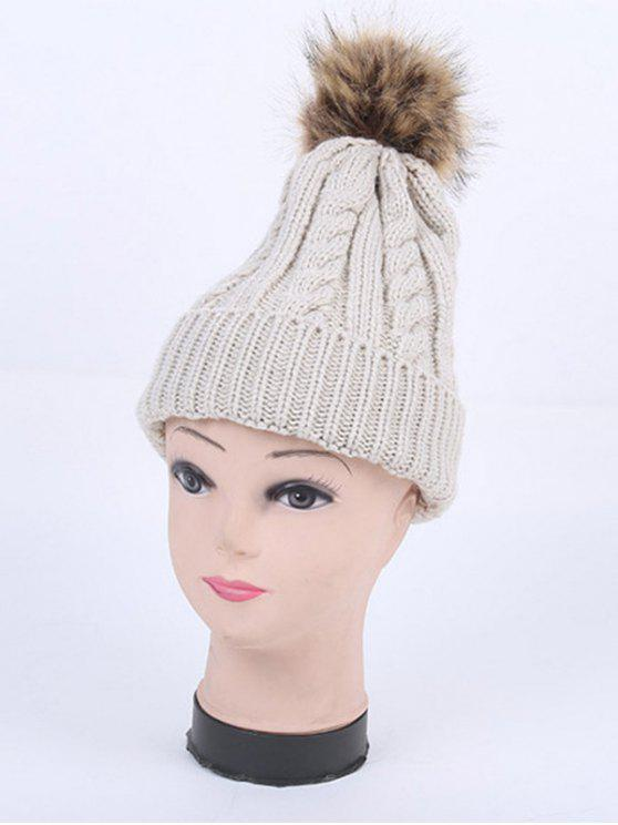 ladies Winter Stripy Cable Knit Pom Hat - LIGHT GRAY