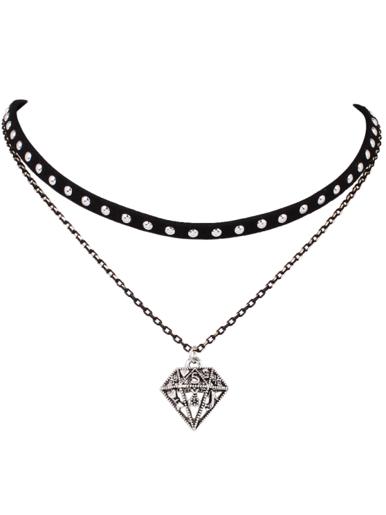 women's Hollowed Diamond Layered Choker - BLACK