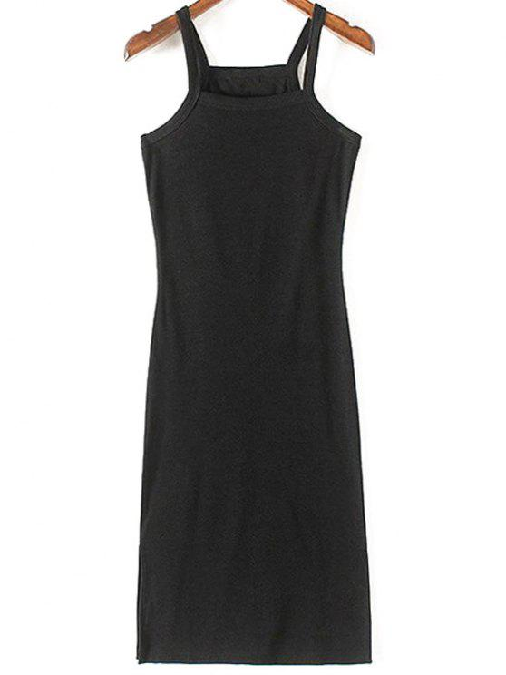 chic Solid Color Side Slit Straps Sleeveless Dress - BLACK L