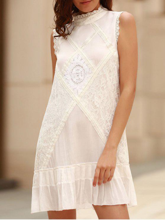 A ligne robe à  col rond  sans manches à volants - Blanc L