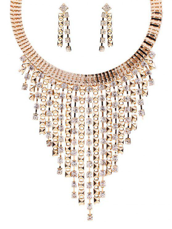 shop Rhinestone Fringed Necklace and Earrings - GOLDEN