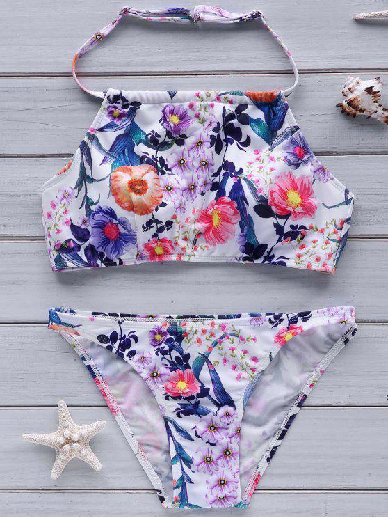Fleur Imprimer col haut Bikini - Multicolore L