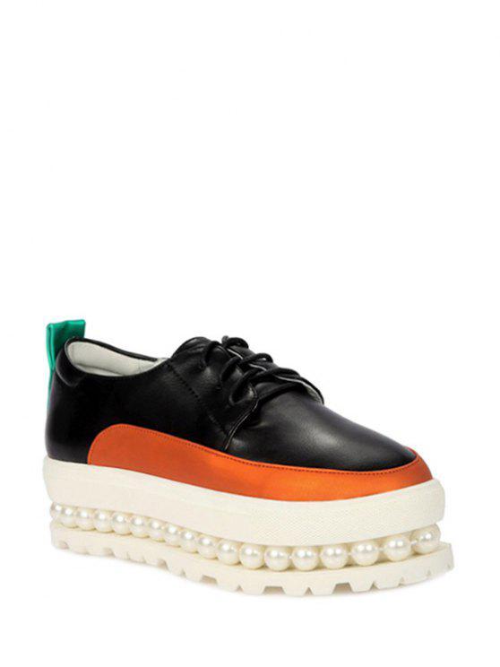 womens Faux Pearl Color Block Platform Shoes - BLACK 34