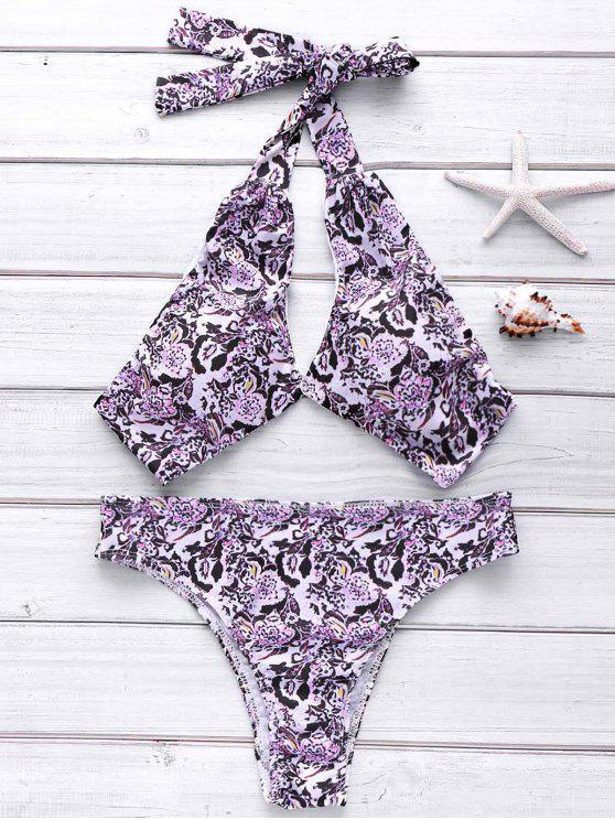 Completa Halter Floral Bikini Set - Cor Mistura M