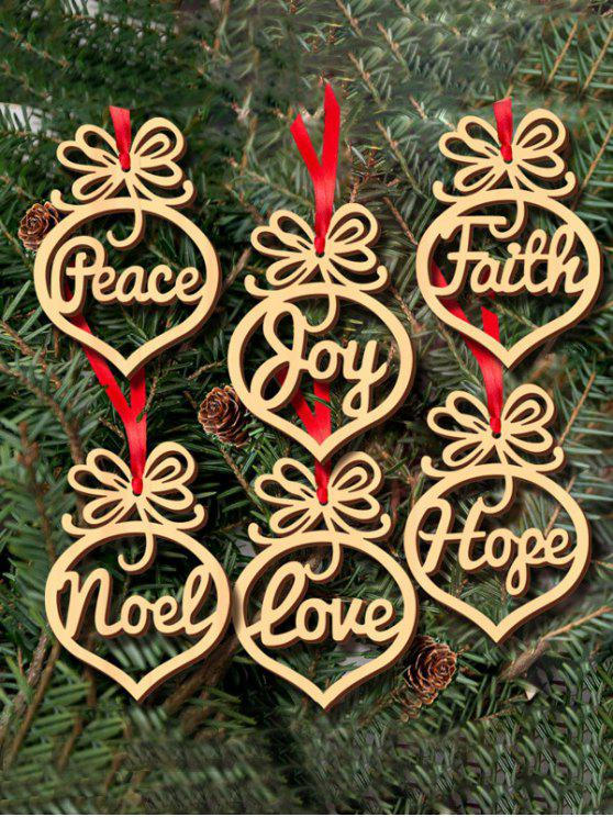 new 6PCS Hollow Out Wooden Hangers Christmas Decoration - WOOD
