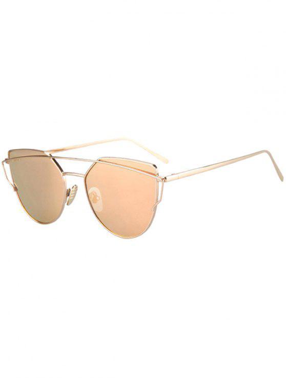 Occhiali Da Sole Da Pilota Con Montatura Dorata E Traversa In Metallo - Oro