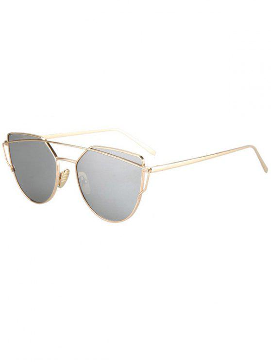 outfits Metal Bar Golden Frame Pilot Sunglasses - SILVER